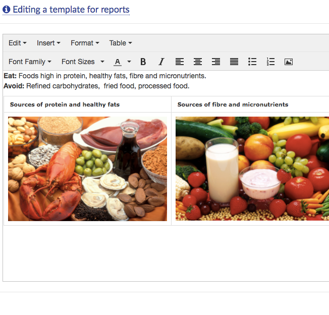 report templates software nutrition